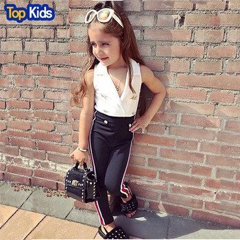 1-6TKids Girls Clothing Set Summer Girl Blouse and Black Elastic Band Pants 2Pcs/Sets Kids Clothes Summer Girls Costume MB489 1