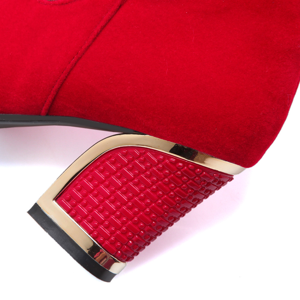 Autumn winter keep warm nubuck leather high heel over the knee boots rivets red black long boots for women