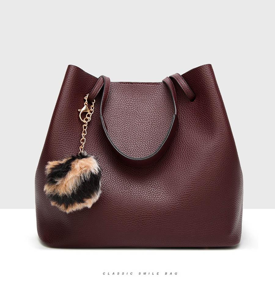 Bags For Women PU Leather Handbags Crossbody Bag For Women Vintage Bucket Shoulder Bag Handbag Set