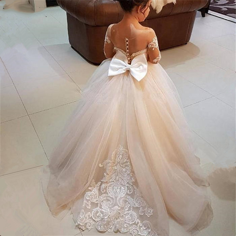 Robes de fille de fleur Vintage pour les mariages princesse Tutu paillettes appliqué dentelle arc enfants première Communion fille robe sur mesure