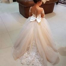 Vintage Flower Girl Dresses For Weddings Princess Tutu Sequined Appliqued Lace Bow Kids First Communion Girl Dress Custom Made цена 2017