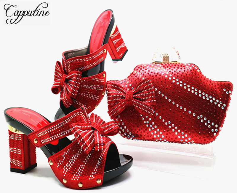 Capputine New Fashion PU Leather Shoes And Bag Set Italian Style Woman Shoes And Matching Bag Set For Party Size 38-42 G46 capputine summer style africa low heels woman shoes and bag fashion slipper shoes and purse set for party size 38 42 tx 8210