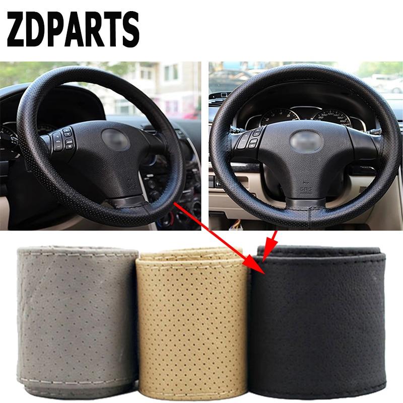 ZDPARTS 38CM Leather Automobiles Car Steering Wheel Covers For Renault Megane 2 Logan Captur Alfa Romeo 159 Chevrolet Cruze Jeep