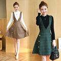 Spring and autumn 2017 long-sleeve sweater slim woolen suspenders one-piece dress women's Female Checkered dress