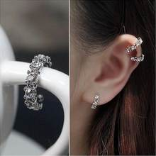 2018 New 1PC Fashion Geometric Round Shiny rhinestone earring jewelry women Charm crystal hoop earrings(China)