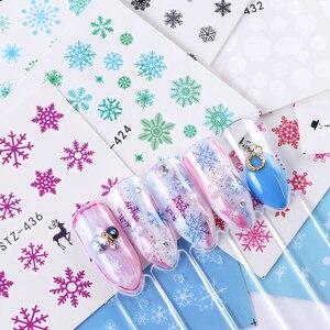 Image 2 - 30PCS/Set Snowflake Nail Art Sticker Winter Manicure Water Transfer Decal Snowman Deer White Blue Nail Art Foil Decoration TR862