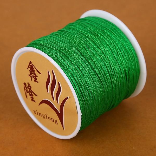 50 метров 0,8 мм нейлоновый шнур, китайский Узелок, шнур макраме, браслет, плетеный шнур, бисероплетение, сделай сам, ювелирный шнур, нить - Цвет: Grass Green