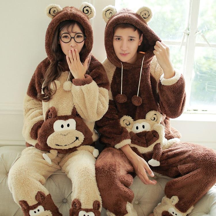 Unisex Winter Long-sleeved men and women thickening warm cute bear sleepwear pajamas set with hooded