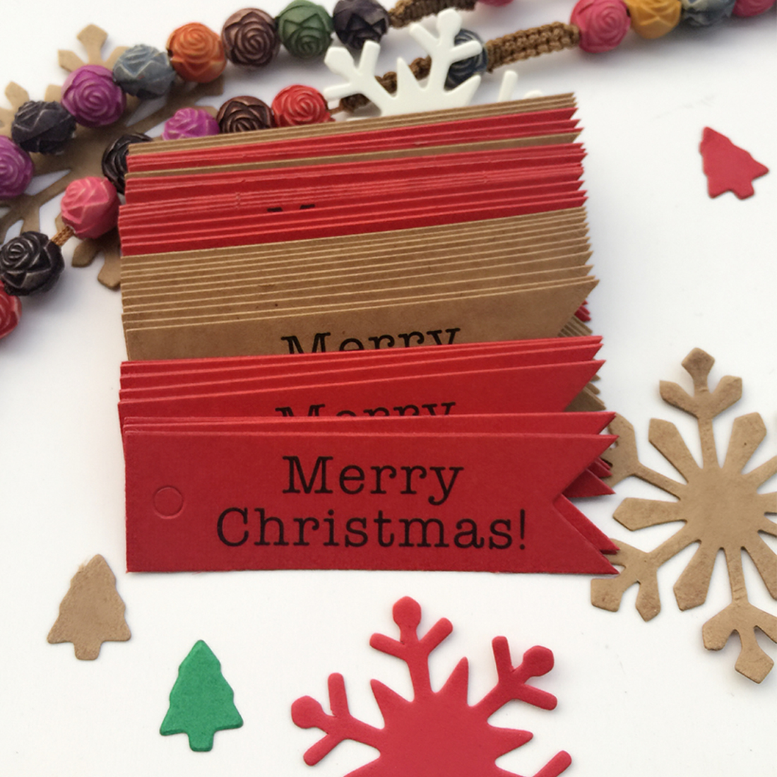 Sale Wholesale 100pcs Decorative Merry Christmas Paper Gift Tags Label Hanging Cards DIY Home Party Christmas Accessories