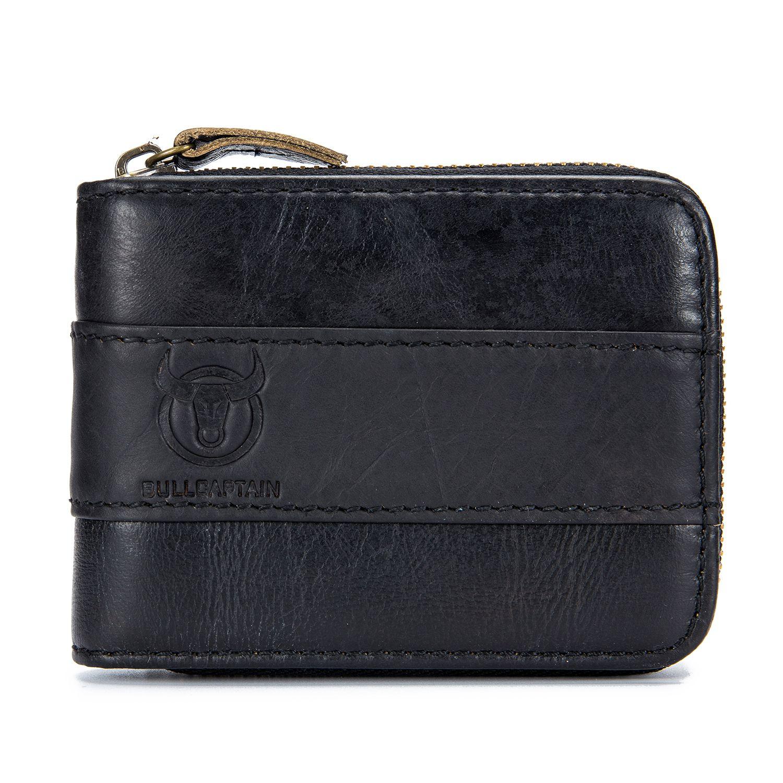 BULLCAPTAIN Genuine Leather Men Wallet RFID Blocking