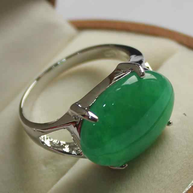 เครื่องประดับ elegant lady's ที่ชื่นชอบสีเขียวหยกแหวนเงิน 7/8/9 #