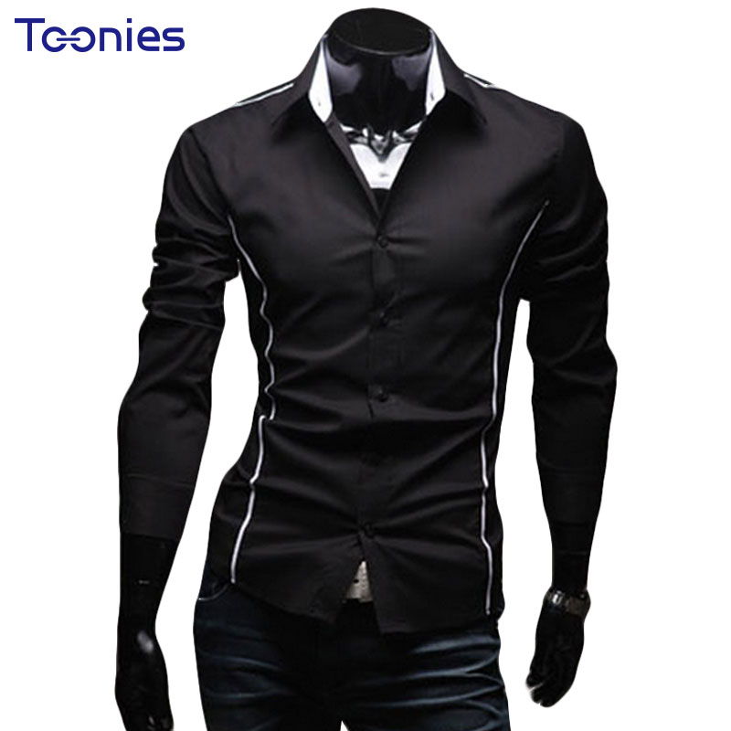 2017 new fashion casual men shirt long sleeve business for High quality mens shirts
