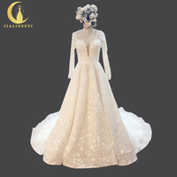 Rhine Real Sample Sexy Long Sleeves Lace V Neck Court Train Long Backless Hot Sale Bridal