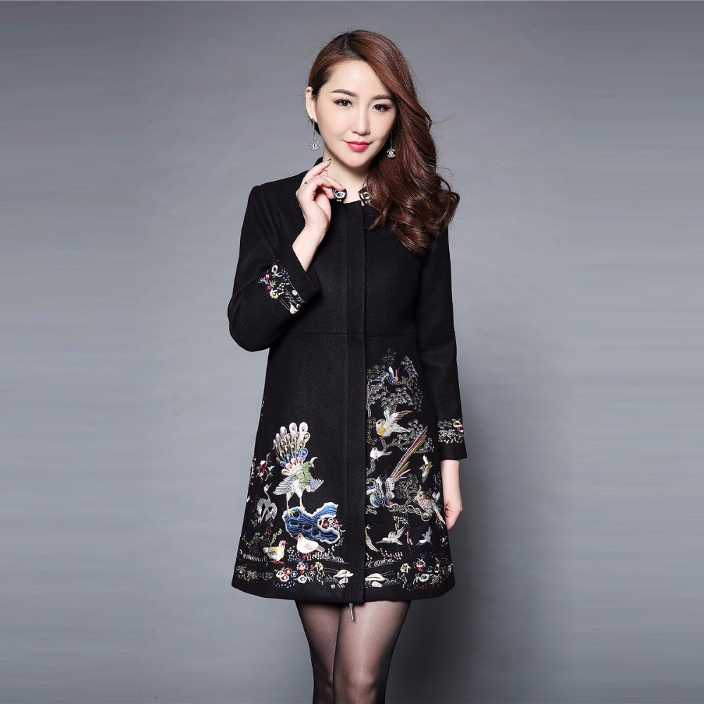 Plus Size 5XL Winter Embroidery Long Coat Women 2018 Full Sleeve Mandarin Collar Full Sleeve Slim Elegant Women Coat