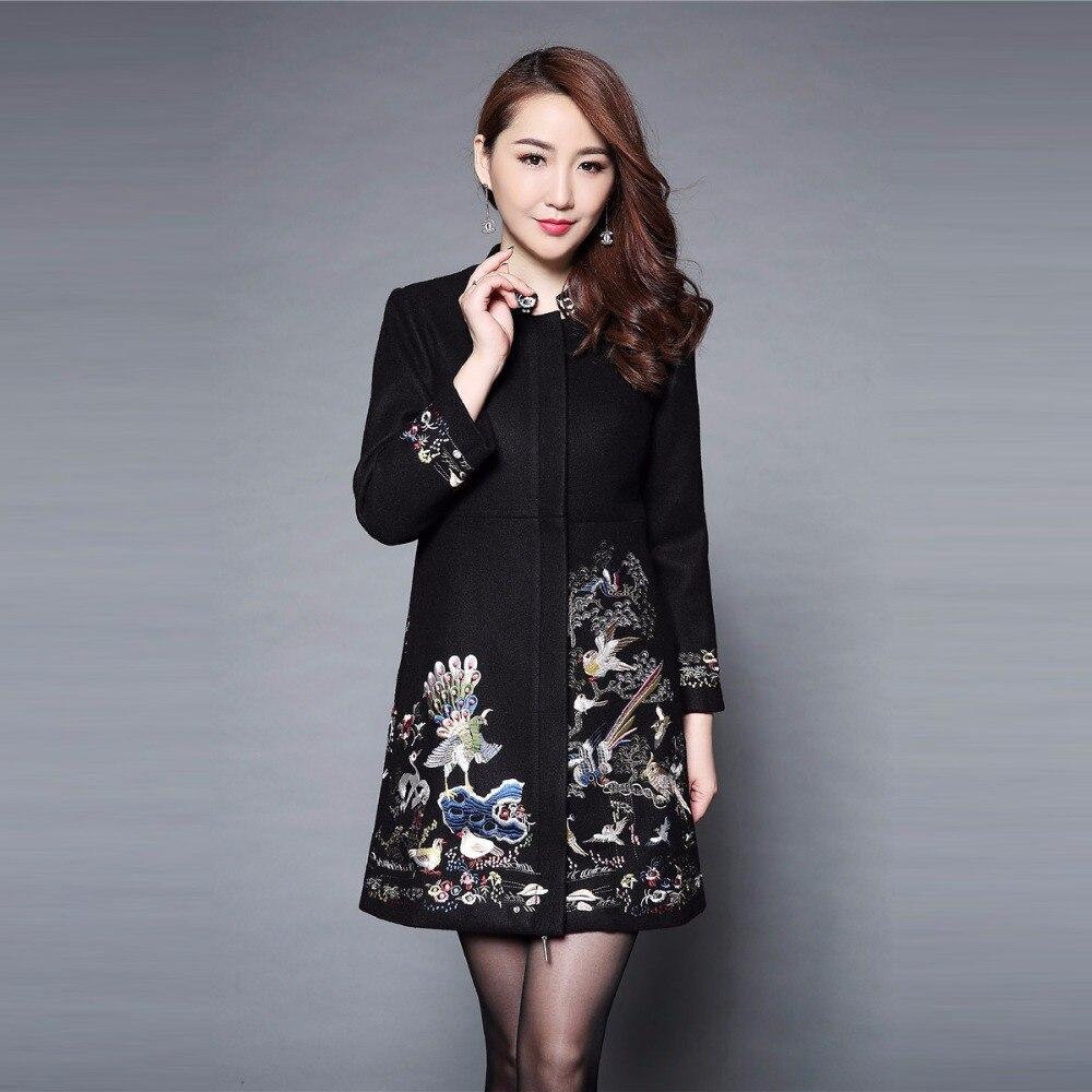 Grande taille 5XL hiver broderie Long manteau femmes 2018 pleine manches Mandarin col pleine manches mince élégant femmes manteau