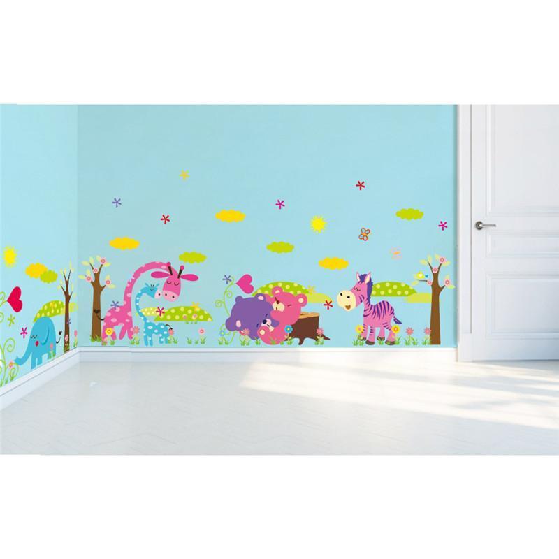 elefante jirafa bho oso flor rbol zoo animal pegatinas de pared para nios decoracin de la