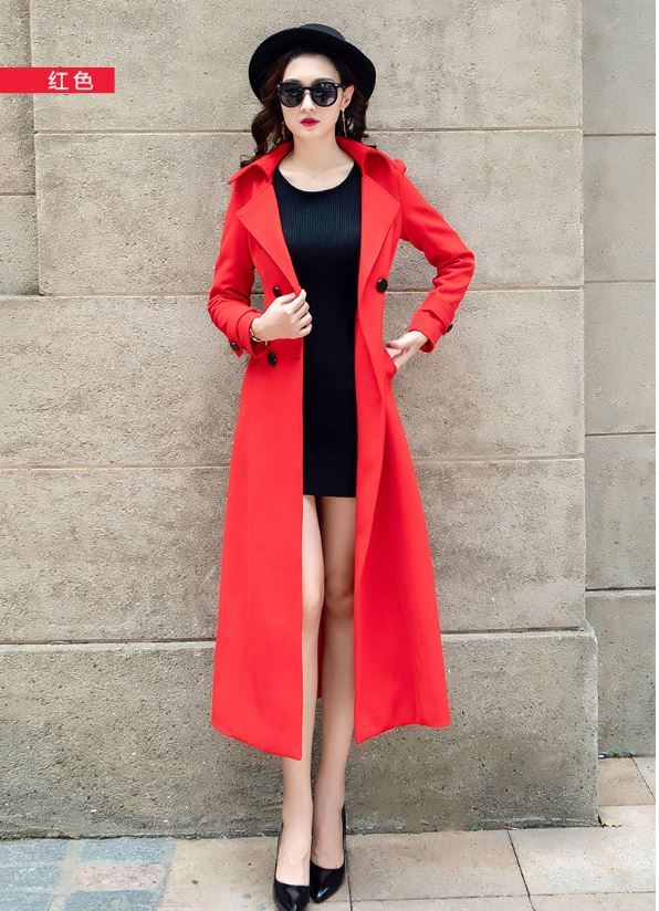 2018 Autumn New Large Size Women Coat Fashion Europen Classical Female Overcoat  suit collar Long trench coat for women