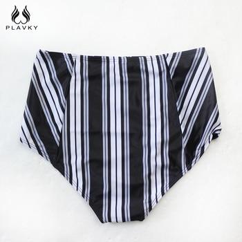 PLAVKY 2020 Sexy White Black Striped High Waist Biquini Ruffled Swim Bathing Suit Swimsuit Swimwear Women Off Shoulder Bikini 10