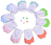 Baby Teether Safe Silicone Mitts Teething Mitten baby glove teether Candy Wrapper Sound Teether(China)