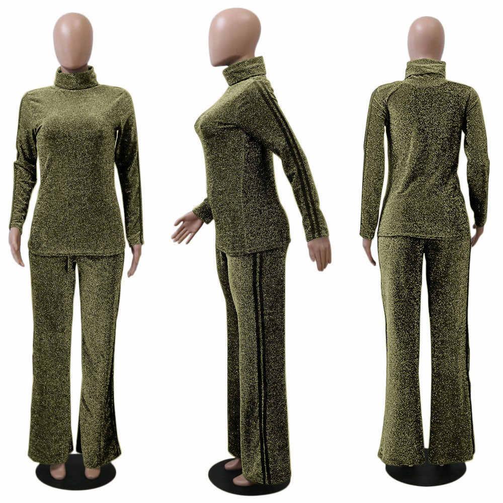 INMOTENG złoty z golfem kobiet zestaw na co dzień z długim rękawem eleganckie boczne paski drukuj Top z spodnie dwuczęściowy zestaw strój garnitur kobiety