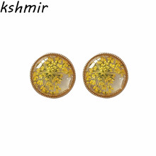 Sweet flower specimens resin earrings contracted Unique fashion Circular pendant womens statement Fine jewelry earring