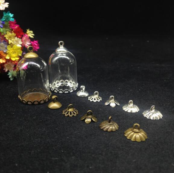 50 pcs 25*18mm cloche pots tube verre globe bronze/argent dentelle base perles cap verre bricolage pendentif verre dôme verre à faire soi même couverture collier-in Flacons, bocaux et boîtes from Maison & Animalerie    1