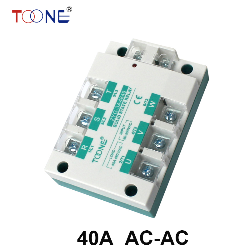 40A AC control AC SSR three phase Solid state relay  ZYG-3A4840 normally open single phase solid state relay ssr mgr 1 a4840 40a ac ac control voltage 70 280v ac