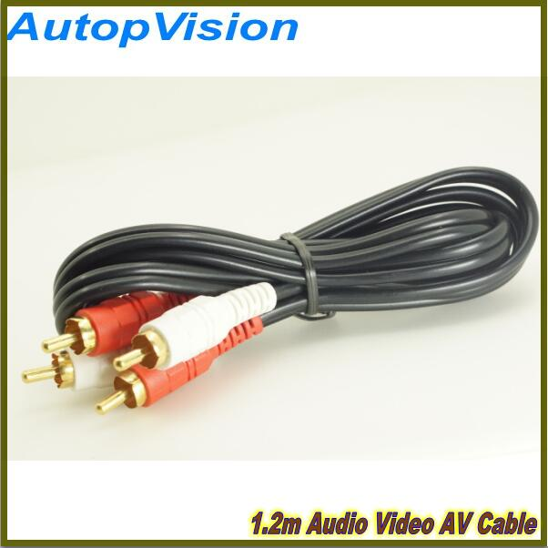 1.2m High Quality 2 RCA to 2 RCA Male to Male Cable Line TV DVD Cable Audio Video AV Cable 12m 12v 24v 2rca audio video av cable rca male to rca male detection wire for car rear view backup camera dvd player tv box