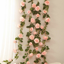 180cm Artificial Rose Flower Vine Wedding Decorative Real Touch Silk Flowers With Green Leaves for Home Hanging Garland Decor 1p