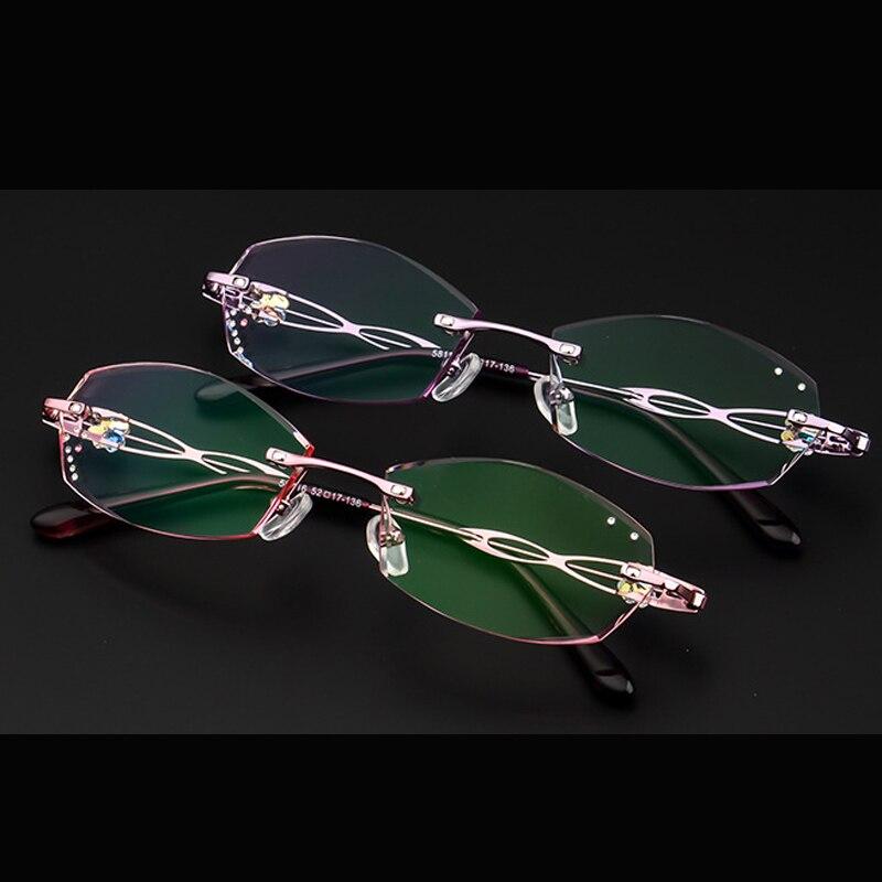 0b33b4af5b Luxury Eyeglasses Rimless Women Myopia Prescription Eye Glasses Diopter Rhinestone  High Clear Lenses Ladies Near sighted Eyewear-in Eyewear Frames from ...