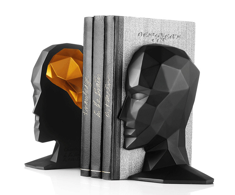 Elegant European Study of High Grade Office Decorations Resin Crafts Human Face Brain Bookends Best GIFT