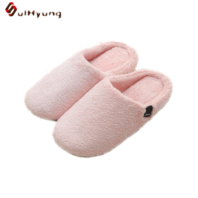 Suihyung New Winter Warm Women Men Indoor Shoes Plush Soft Sole Home Slippers Non-slip Floor Slippers Female Male At Home Shoes designer fluffy fur women winter slippers female plush home slides indoor casual shoes chaussure femme
