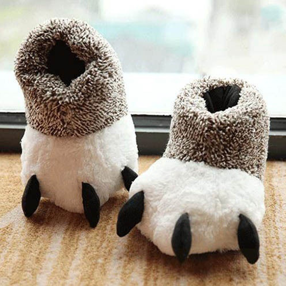 Fashion Home Cotton Slippers Floor Shoes Thermal Winter Indoor Cotton Padded Plush Cartoon Bear Claw Non-slip Slippers