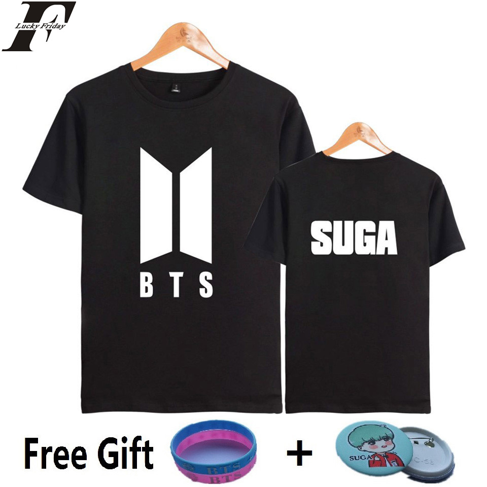 KPOP K-pop Short Sleeve Men and Women Tshirt Top Kpop Bangtan Fans Tee Shirt Women Cotton Popular Hip Hop Tee Shirts