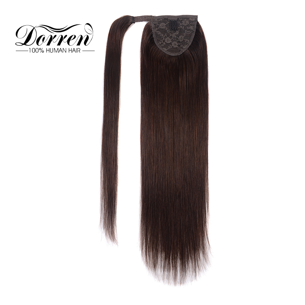 Dorren Ponytail Clip in Hair Extensions Machine Made Remy Straight Human Hair Pieces Chocolate Brown 100