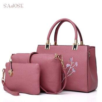 Woman Tote Bags Handbag 3 Sets Famous Brand Leather Compound Crossbody Bags For Women Messenger Bag Ladies Pink Hand Bag SAJOSE tote bag