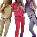 Hot Sale Fashion Autumn 2015 Women Tracksuits Casual O-Neck Long Sleeve Hoodies Pullover+Pants 2 Piece Set Plus Size