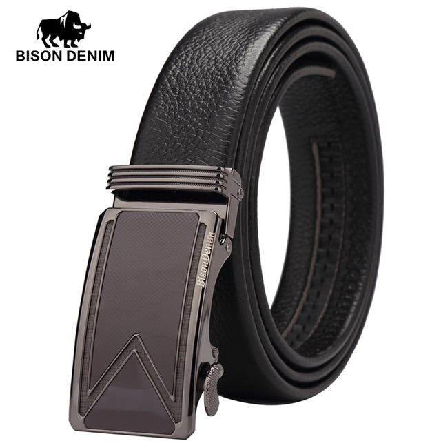 BISON DENIM Hebilla Automática cinturones de piel de vaca Cinturones de Cuero genuino de Negocios Negro para el regalo de Boda de los hombres mejor hombre N71056
