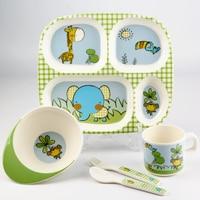 2016 Melamine Tableware Children Portable 5 Piece Sets Creative Cartoon Lattice Dividing Plate Baby Eating Dish