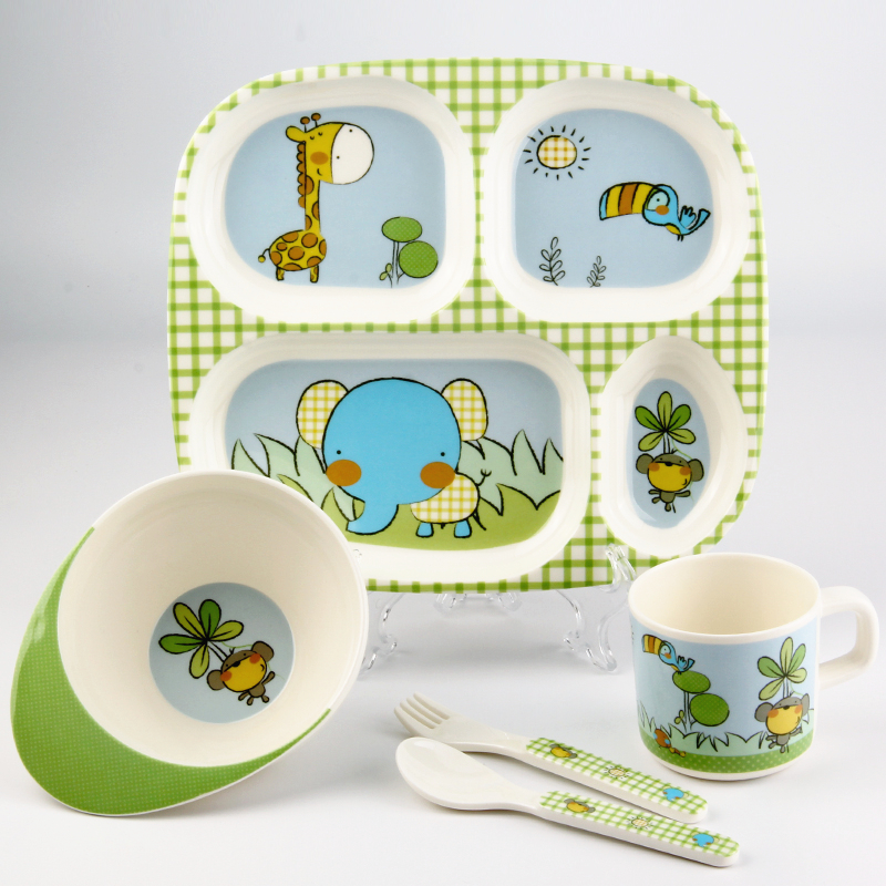 Lovely Cartoon Melamine Children Kids Tableware Set Portable 5 Pcs Baby Feeding Bowl Dividing Baby Plate Dishes 5 pcs set 2 spoon 1 cup 1 bowl 1 cover bamboo fiber children tableware 5 styles for you choose solid feeding dishes plates