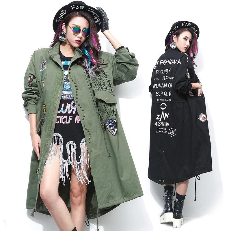 Rivet Nouveau Noir Survêtement Green Tranchée Livraison Femmes Coupe Badge Nail 2017 vent Lettres Imprimé Robe Manteau Lâche Automne army Autocollants Long Femelle 5Hz1UqWUT7