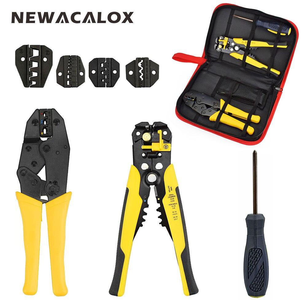 NEWACALOX Fil Décapant Multifonction Auto-réglable Terminal Outil Kit Sertissage Pince Multi Fil À Sertir Screwdiver