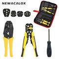 NEWACALOX Wire Stripper Multifunction Self-adjustable Terminal Tool Kit Crimping Plier Multi Wire Crimper Screwdiver