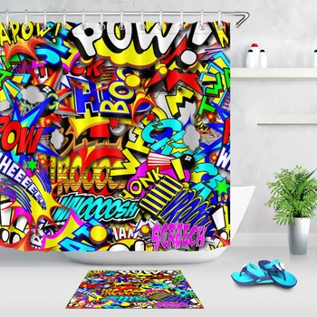 LB Colorful Cartoon Text Captions Shower Curtains Anime Set Extra Long Bathroom Waterproof Polyester Fabric For Bathtub Decor
