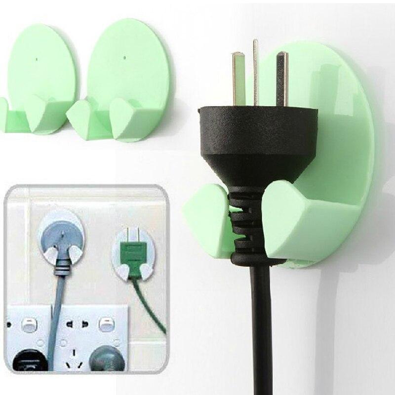 050 2pcs Home kitchen plug hook Office Wall Adhesive Plastic Power Plug Socket Holder Hanger Wall Storage Hook 6 5 2 5cm in Storage Holders Racks from Home Garden