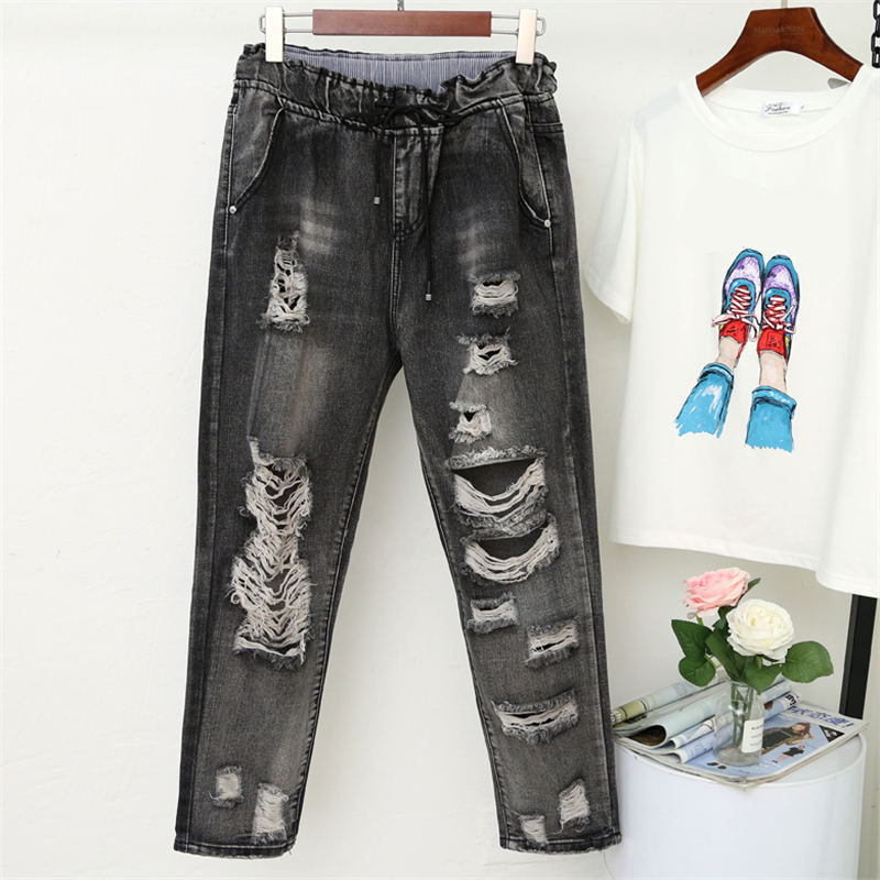 Vintage Boyfriend Jeans For Women High Waist Ripped Hole Black Jeans Female Casual Streetwear Plus Size Jeans Harem Pants Q1294