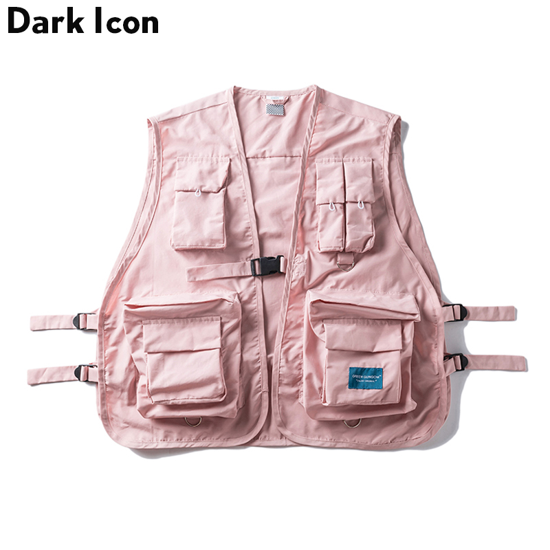 DARK ICON Military Multi Pocket Vest Hip Hop Vest Men 2019 Hi-end Fashion Solid Color Buckle Men's Vest Streetwear(China)