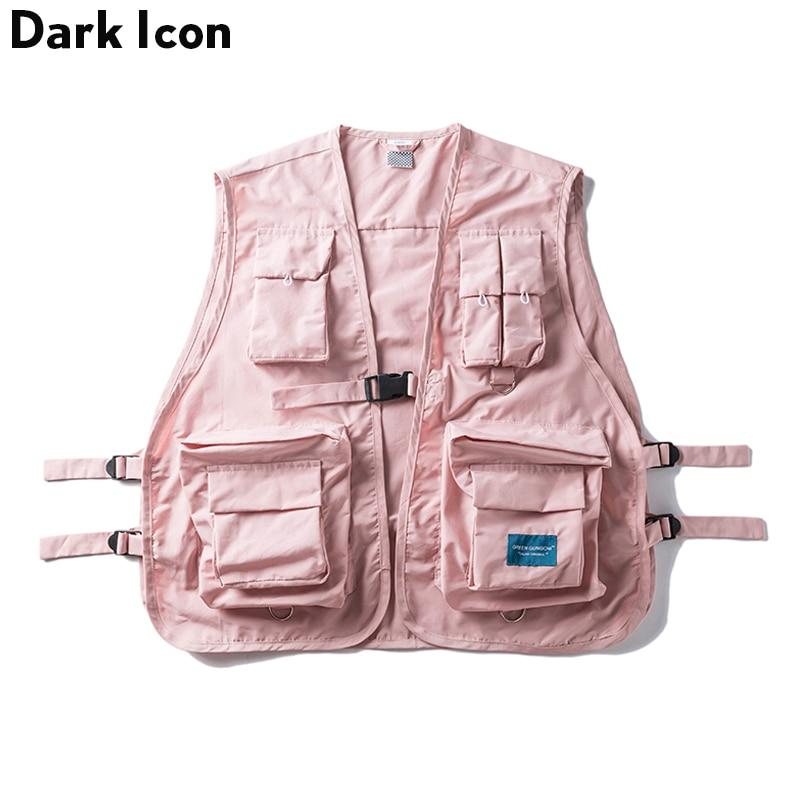 DARK ICON Military Multi Pocket Vest Hip Hop Vest Men 2019 Hi-end Fashion Solid Color Buckle Men's Vest Streetwear(China)