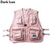 DARK ICON Military Multi Pocket Vest Hip Hop Vest Men 2019 Hi end Fashion Solid Color Buckle Men's Vest Streetwear
