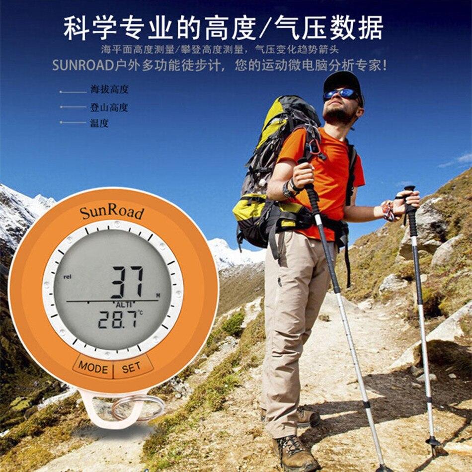 SR108S Мини ЖК цифровой шагомер оранжевый альтиметр барометр компас термометр погода внешний Карабин Водонепроницаемый